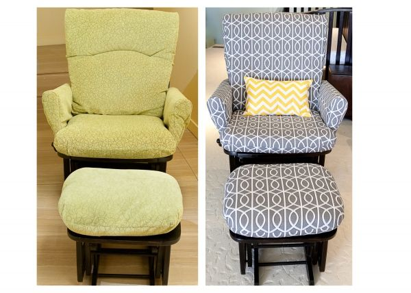 Reupholstered glider chair- under 5 yards of fabric.  Because my cream colored chair is already getting dirty!