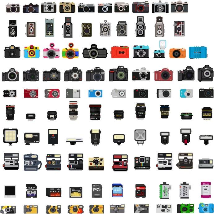 100枚照相机及配件的像素图标设计,是否看到了你似曾相识的产品。丨设计:Billy Brown