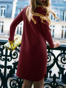 Robe droite dos dénudé manches longues -bordeaux rouge