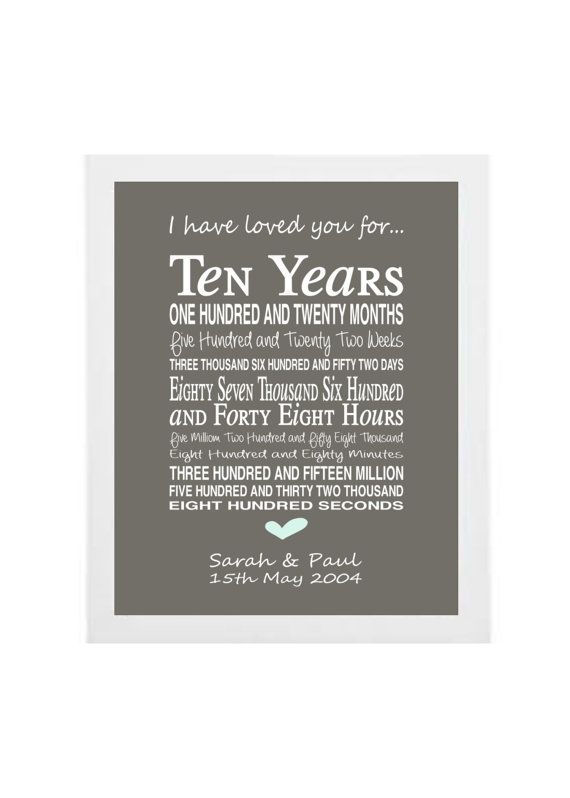 10th anniversary gift  personalised by PinkMilkshakeDesigns, £14.95