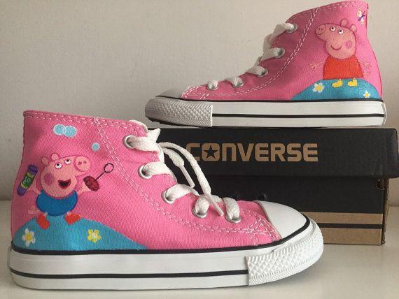 Custom Painted Peppa Pig Converse Hi Tops shoes All por AngeLordArt