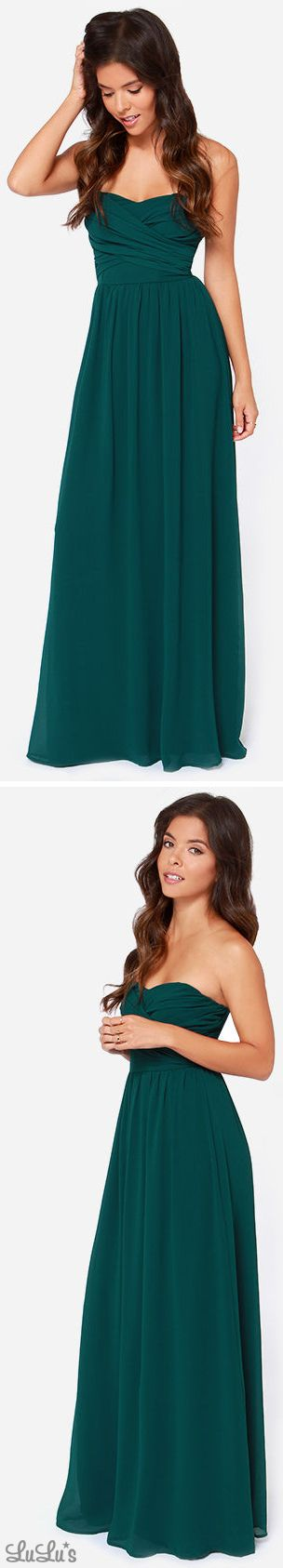 LULUS Exclusive Royal Engagement Strapless Dark Green Maxi Dress