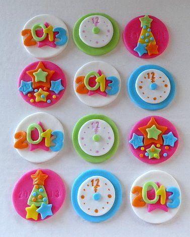 12 Fondant edible cupcake toppers - New Year's Theme. $19.95, via Etsy.