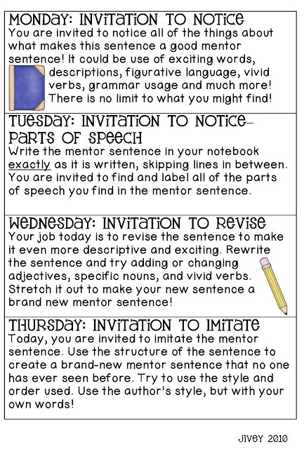 Revisiting Mentor Sentences!  This blog is a wealth of information about mentor sentences.  I will do this next school year.
