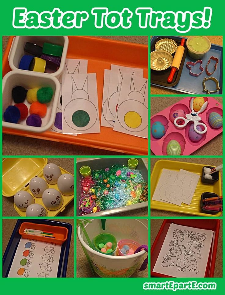 Tots and young preschoolers will enjoy Easter tot trays and activities in their homeschool! See activities with gluing, matching, coloring and more.