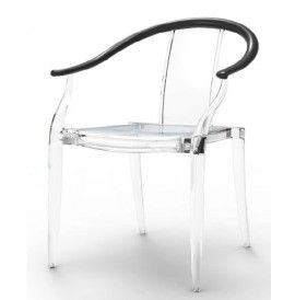 PAPEETE Design chair in polycarbonate with armrests avaiable in two colors