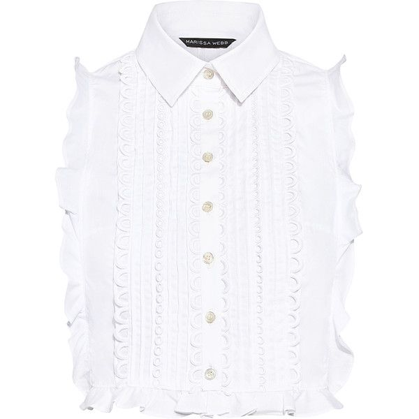 Marissa Webb - Marcy Dickie Ruffle Shirt Top ($298) ❤ liked on Polyvore featuring tops, lace top, crop top, white lace shirts, button down shirts and white button up shirt