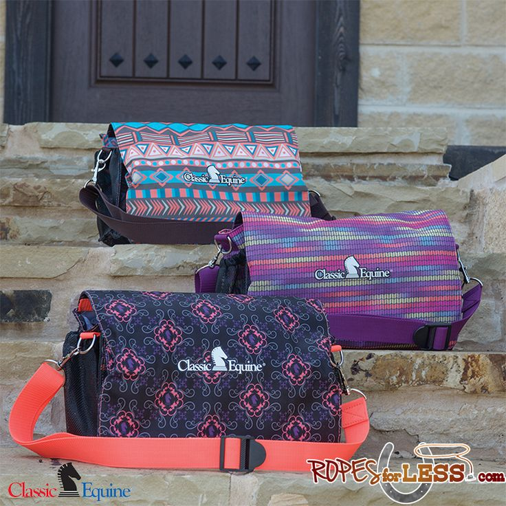 """Classic Equine's necessity tote is made of tough, durable nylon and has multiple interior and exterior pockets of various sizes toaccommodateall of your""""nece"""