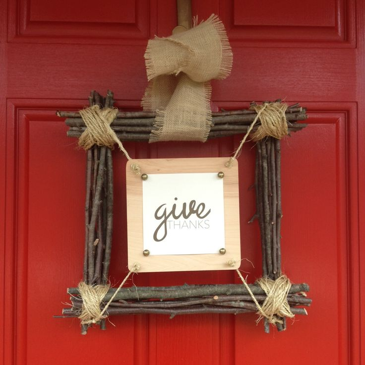 Create a no cost square wreath for your door.