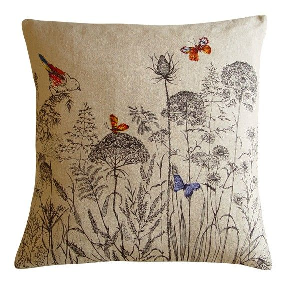 Bird & Butterflies embroidered cushion by Lara Sparks    Highly detailed and colourful embroidery detail worked over a hand screen printed English wild garden design. Each piece is unique and will therefore differ slightly to the one shown. Made from 100% cottons, linens and silks, with a removable envelope cover and a feather core.    Dimensions: Approximately 50cm high x 50cm wide.  Dry or lightly sponge clean only.