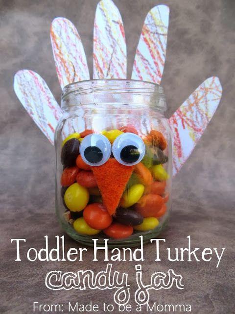 Sugar Bee Crafts: Toddler Hand Turkey Candy Jar {Kids Craft Contributor} - fun kids craft for Thanksgiving