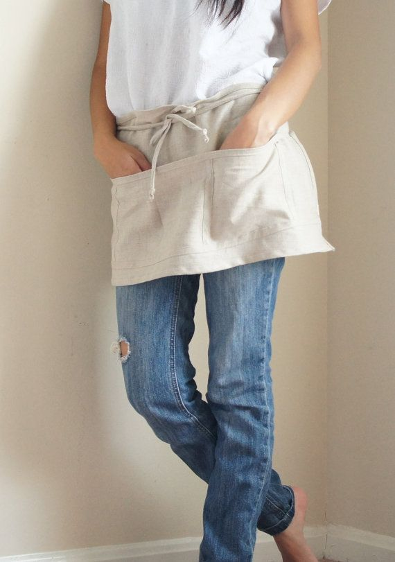 100% Linen cafe Apron/ Pinafore /With 5 Pockets от LouEmbrace