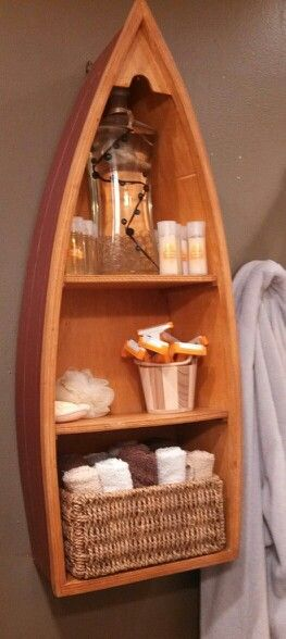 Better bathroom organization with boat shelf