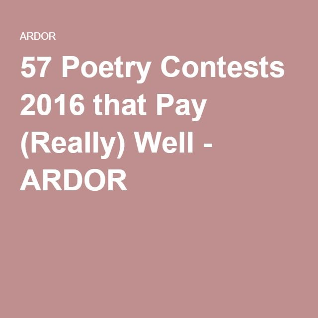 57 Poetry Contests 2016 that Pay (Really) Well - ARDOR