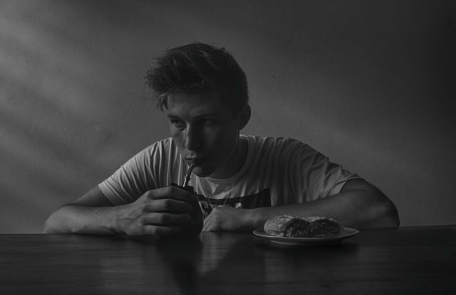 Taste of the moment B&W Portrait Black And White Boy Breakfast Calm Daily…