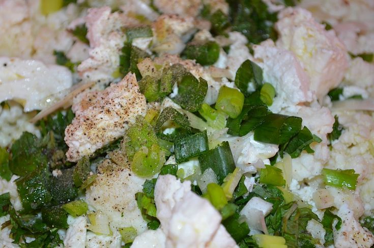 Stage 2 - Mix the cheese (mizithra if you can find some) or a mixture of feta and ricotta with lots of fresh mint.