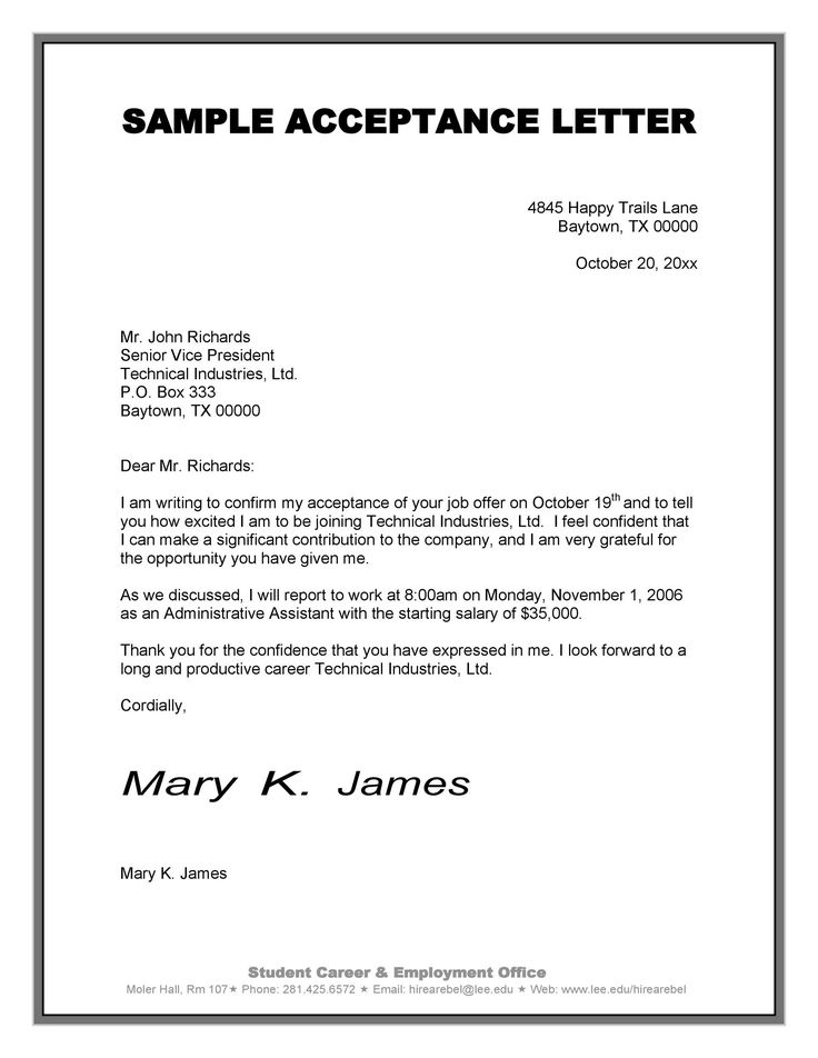 Acceptance Letter Sample 2 Ingenious Ways You Can Do With