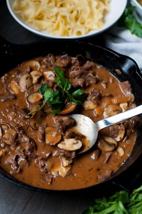 Beef Stroganoff is a Russian dish and I'll be the first to admit to know nothing about Russian cuisine or whether my version is authentic. Probably isn't? I use flank steak in mine which deviates from the sirloin, tenderloin or chuck I typically see in recipes. After having tried all of those cuts for Stroganoff at some point in the past,I stand by flank steak as the ideal cut to use in this recipe. When sliced uber thin,the melt-in-your-mouth flank pieces are at harmony with the s...
