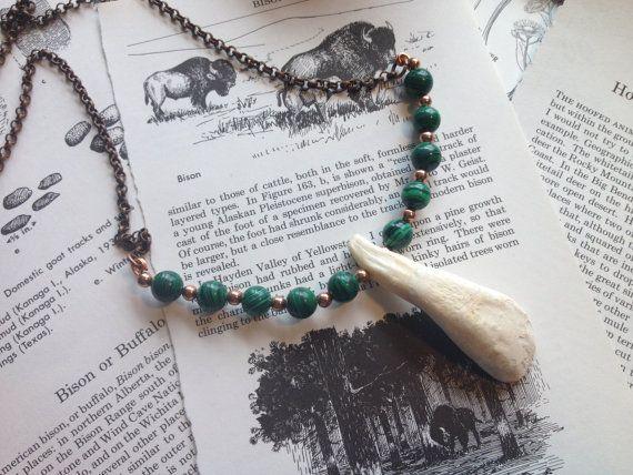 Malachite & Buffalo Tooth Necklace  OOAK  Handmade by NettleHeart