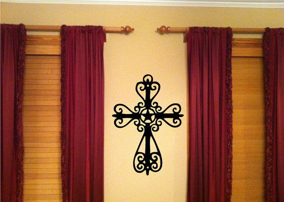 Texas Star Cross Vinyl Wall Art Decal by designstudiosigns on Etsy, $28.50
