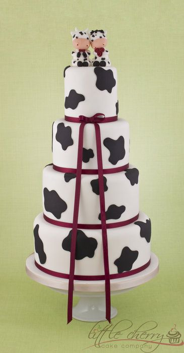 Cow Wedding Cake - by littlecherry @ CakesDecor.com - cake decorating website