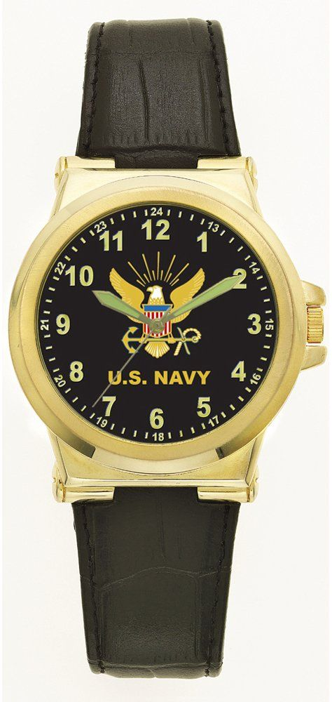 Aqua Force Navy Jumbo Retro Watch with 50mm Face. Stainless Steel Back and Metal Case. 50mm Face with Luminous Hands. Deluxe Leather Strap. Water Resistant up to 30 Meters. U.S. Navy Insignia.