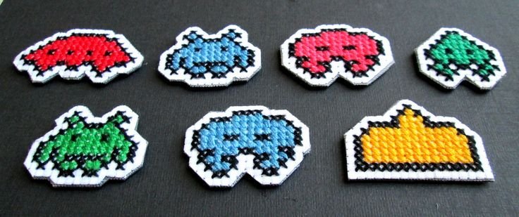 Set of 7 Space Invader Cross Stitch Magnets