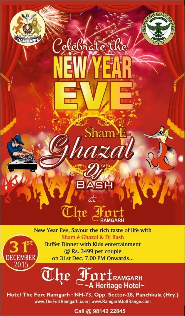 New Year Gala Dinner & DJ Bash & Ghazal Night by Tahir Haleem from Malerkotla!!! Only Rs.3500 Per Couple/-  Limited Pass available. Get your Ticket Now @ 98142 22845  Stay packages also available....