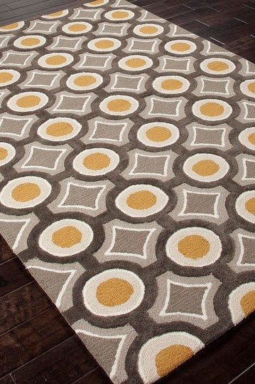 Modern Geometric Pattern Tufted Rug - Deep Charcoal/Amber Gold