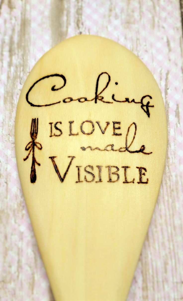 "Hand burned wooden spoon with Cooking is Love Made Visible design.  This is a restaurant quality 12"" wooden spoon. Sanded smooth and hand burned for use as both a working kitchen tool and a decorative home accent. We tested many brands of spoons before ..."