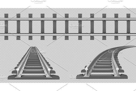 Vector Rails Straight And Turn Train Vector Vector Train Tracks