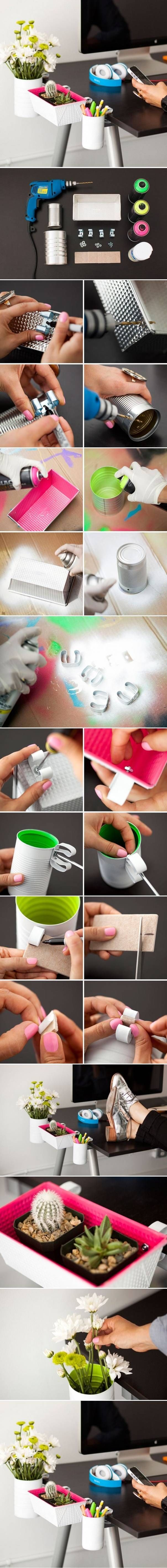 DIY: Desk organisers out of recycled cans and containers