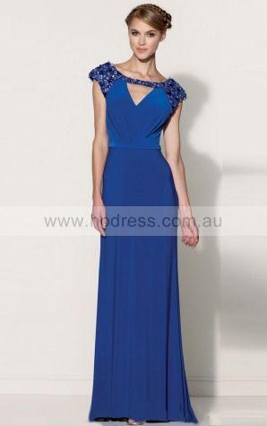 A-line Bateau Natural Cap Sleeves Floor-length Evening Dresses zih086--Hodress