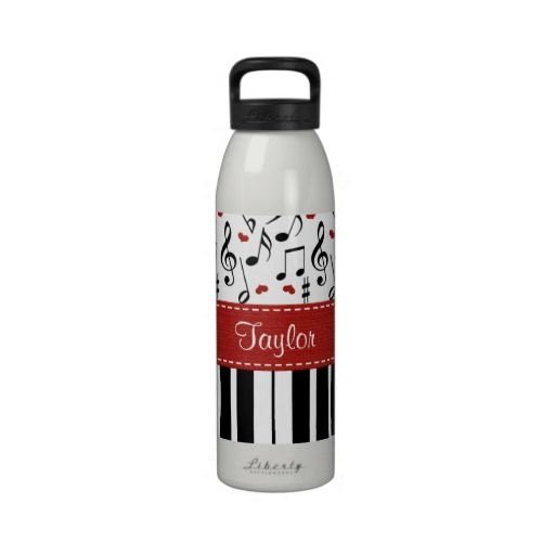Piano Music Notes Water Bottle BPA Free