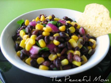 Black Bean and Corn Salsa-- The Peaceful Mom: Beans Recipe, Black Beans, Corn Salsa Th, Food, Salsa Tpm, Peace Mom, Healthy, Corn Salsa Recipes, Black Bean Corn