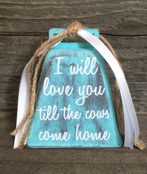 Distressed Love & Cows Cowbell. Rustic Decor by HorseShoeFever  Gifts, Baby, Shower Gift, Cowboy Wedding Ideas, Cowgirl, Wife, Girlfriend, Aqua, Blue Turquoise, Farm, Ranch, Country, Western, Southern, Cattle, Love