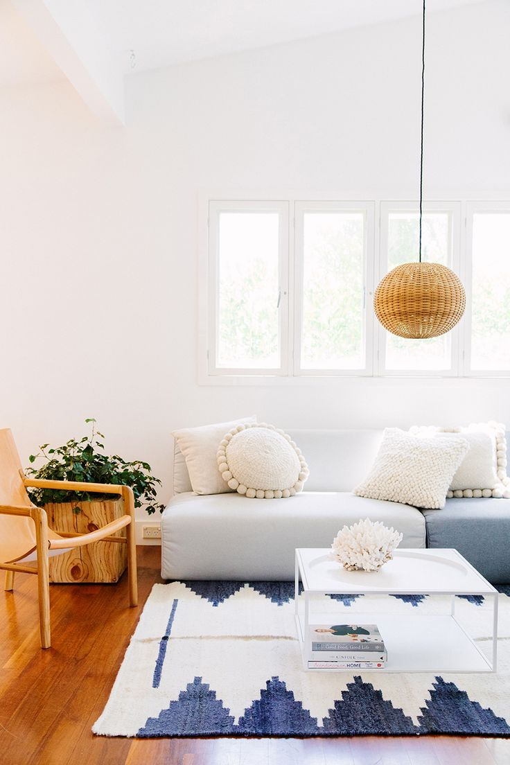 Boho modern living room in neutrals and blues