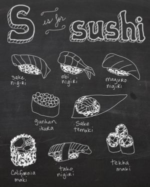 S is for sushi - digital illustration by Tina Jett