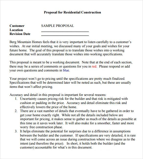 Remodeling Contract Template Proposal Sample Proposal