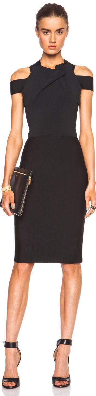 ROLAND MOURET SWANGROVE VISCOSE-BLEND DRESS BLACK