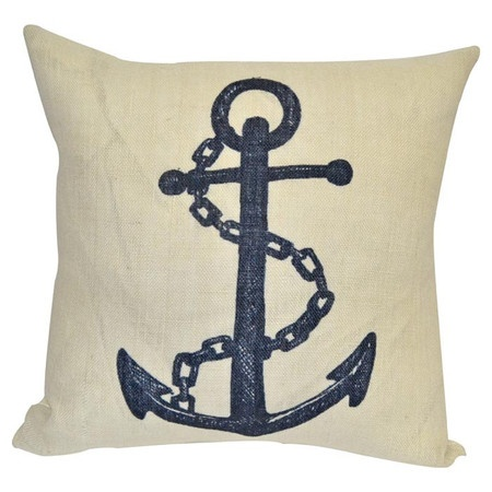 Burlap accent pillow with a detailed anchor design.   Product: PillowConstruction Material: BurlapColor: