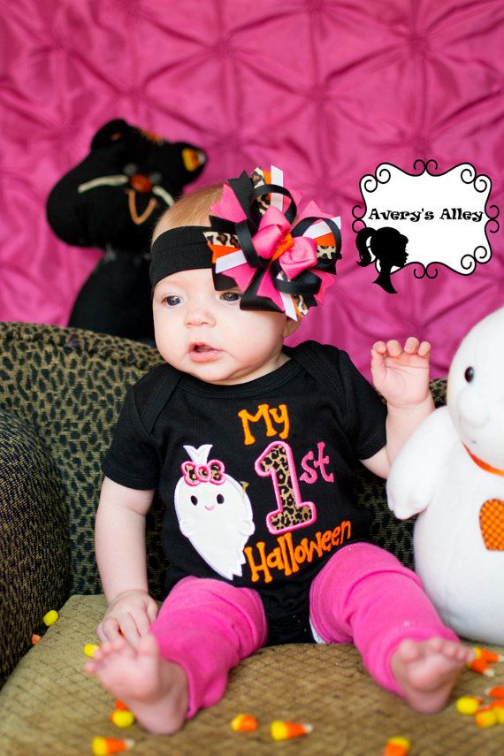 My 1st Halloween with ghost Girls Leopard by AverysAlley1 on Etsy