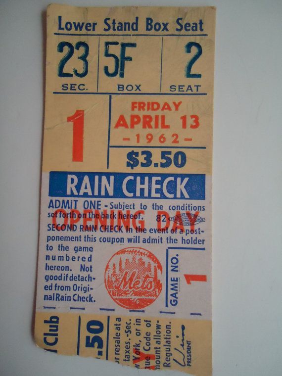 Vintage New York Mets 1st Home Game April 13 by Sarasvintageattic, $995.00