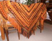 Chale mohair orange et noir Original et flashy. : Echarpe, foulard, cravate par les-tricots-de-jade