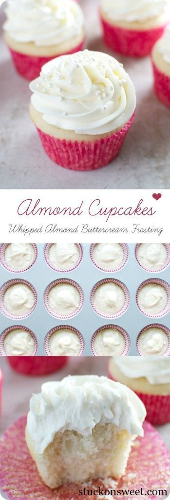Almond Cupcakes with Whipped Almond Buttercream Frosting.  A delicious dessert treat recipe that's perfect for celebrating! | stuckonsweet.com