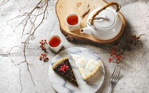 Обои чай, торт, чайник