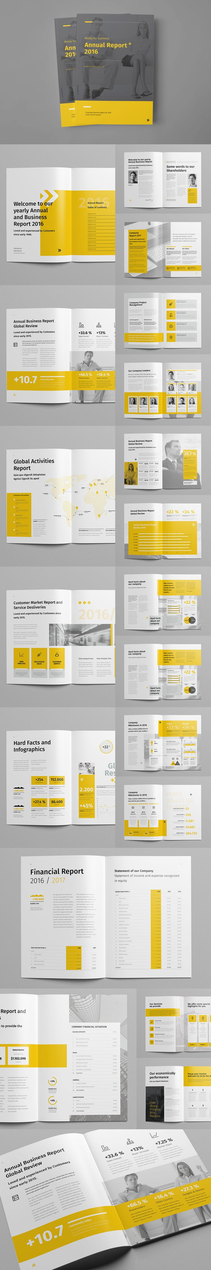 Minimal and Professional Annual Report Design Template InDesign INDD - 44 Pages, A4 & US Letter size