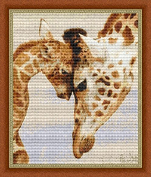 Mothers Love Giraffes Counted Cross Stitch Pattern in PDF for Instant Download by InstantCrossStitch on Etsy https://www.etsy.com/listing/217303138/mothers-love-giraffes-counted-cross