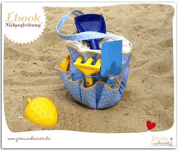 BuddelTäschi aus Wachstuch oder Stoff nähen, Eimertasche, Sandspielzeugtasche, Tasche für den Spielplatz nähen