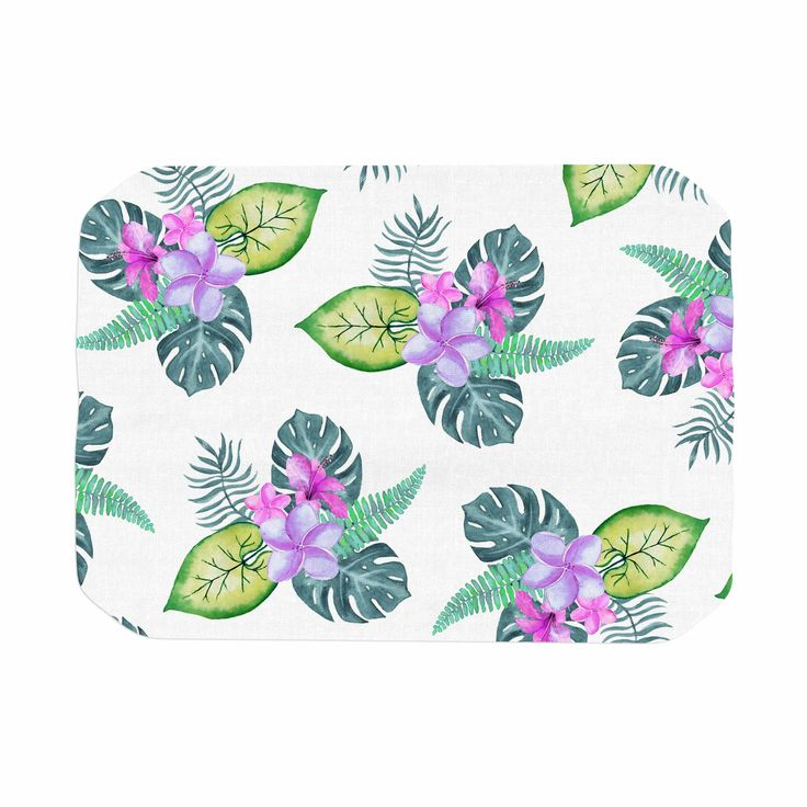 These placemats will bring class to your dinner table even if you're eating take-out for the second night in a row.  #tropical #flowers #monstera #hawaii #colorful #leaves #nature #plumeria #placemat